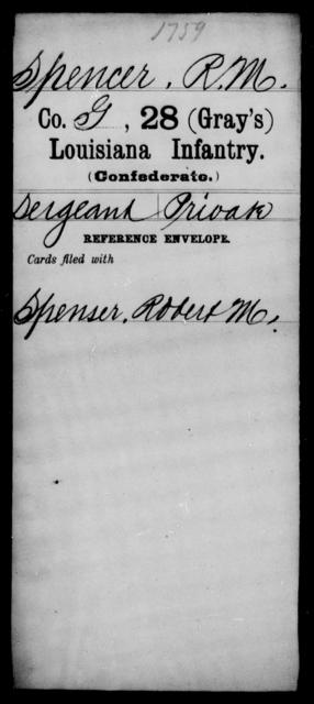 Spencer, R M - Age [Blank], Year: [Blank] - Twenty-eighth (Gray's) Infantry, Q-V - Louisiana