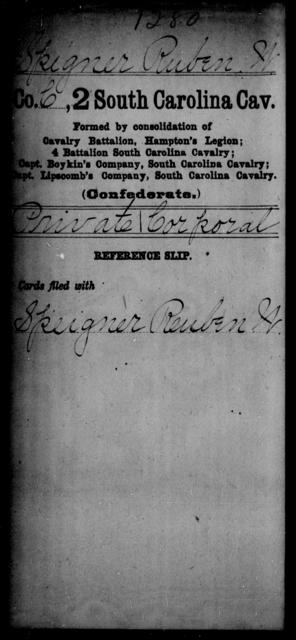 Spigner, Ruben W - Age: [Blank], Year: [BLANK] - South Carolina Second Cavalry N-S