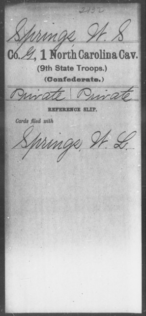 Springs, W S - First Cavalry (Ninth State Troops)