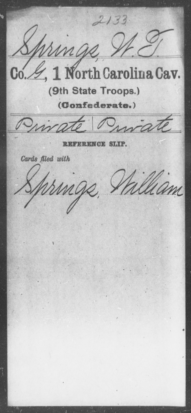 Springs, W T - First Cavalry (Ninth State Troops)
