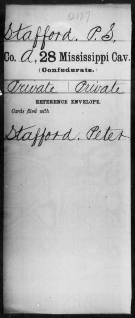 Stafford, P S - Age: [Blank], Year: 1862 - Mississippi Twenty-eighth Cavalry, Sm-V