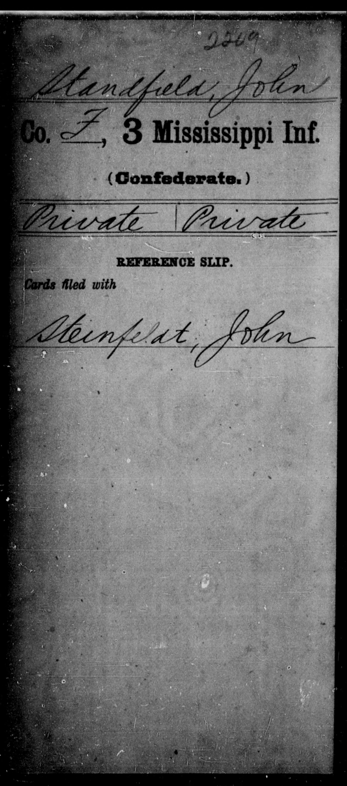Standfield, John - Age: [Blank], Year: [BLANK] - Mississippi Third Infantry, St-Z AND Third Infantry (Army of 10,000)
