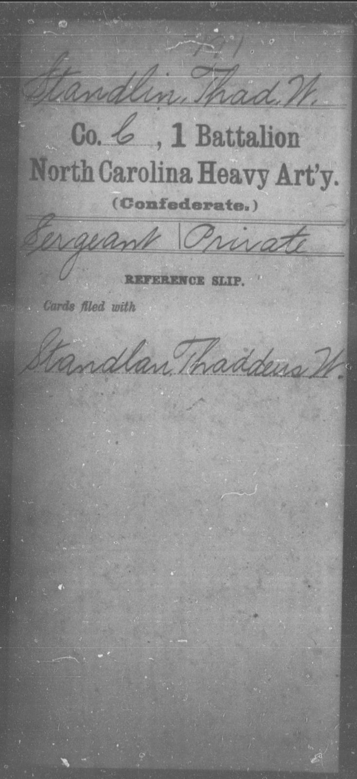 Standlin, Thad W - First Battalion, Heavy Artillery