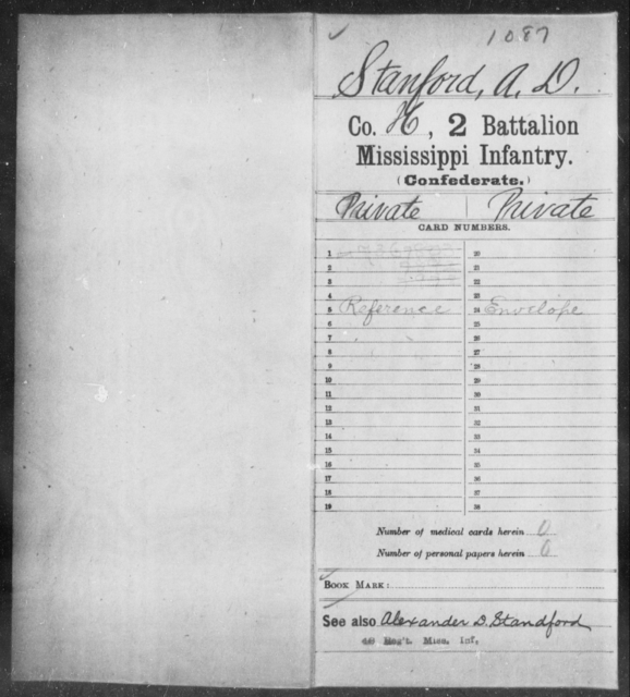 Stanford, A D - Age: [Blank], Year: [BLANK] - Mississippi Second Battalion, Infantry, R-Z AND Second (Davidson's) Infantry (Army of 10,000), A-O
