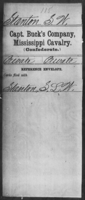Stanton, S W - Age: [Blank], Year: [BLANK] - Mississippi Davenport's Battalion, Cavalry (State Troops) AND Capt. Abbott's Co., Cavalry AND Capt. Armistead's Co., Partisan Rangers AND Capt Bowen's Co.(Chulahoma Cavalry) AND Capt. Brown's Co. (Foster Creek Rangers), Cavalry AND Capt. Buck's Co., Cavalry AND Butler's Co., Cavalry Reserves