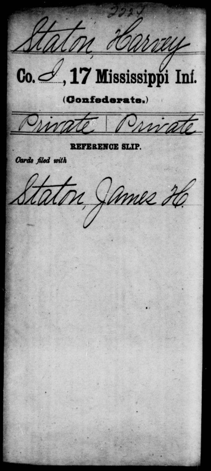 Staton, Harvey - Age: [Blank], Year: [BLANK] - Mississippi Seventeenth Infantry, S-St