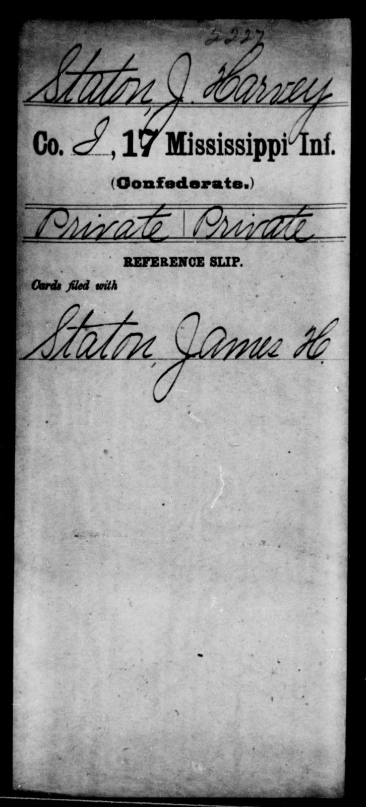 Staton, J Harvey - Age: [Blank], Year: [BLANK] - Mississippi Seventeenth Infantry, S-St