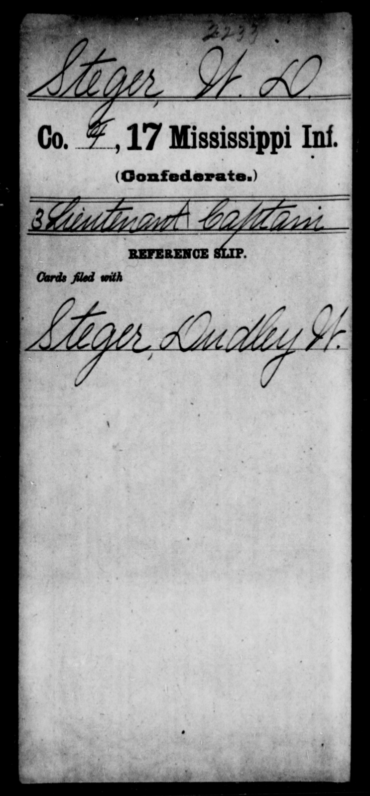 Steger, W D - Age: [Blank], Year: [BLANK] - Mississippi Seventeenth Infantry, S-St