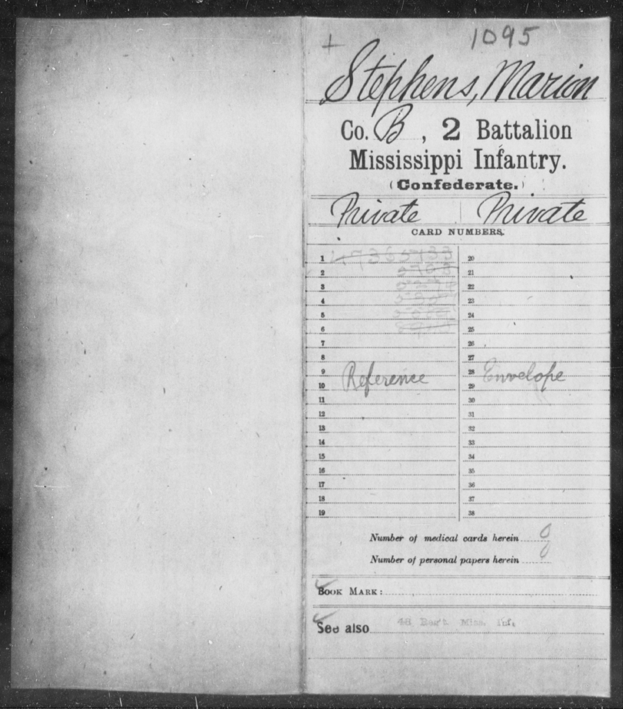 Stephens, Marion - Age: [Blank], Year: [BLANK] - Mississippi Second Battalion, Infantry, R-Z AND Second (Davidson's) Infantry (Army of 10,000), A-O