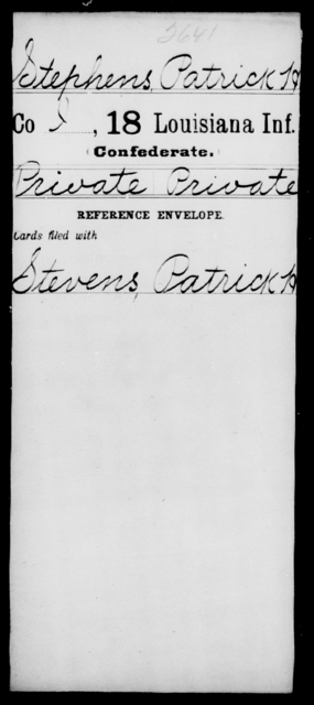 Stephens, Patrick H - Age [Blank], Year: [Blank] - Eighteenth Infantry, Si - Z - Louisiana