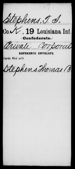 Stephens, T S - Age [Blank], Year: [Blank] - Nineteenth Infantry, Sp - Z - Louisiana