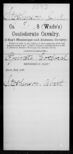 Stephenson, J A - Age [Blank], Year: [Blank] - Eighth Confederate Cavalry, S-Z - Raised Directly by the Confederate Government