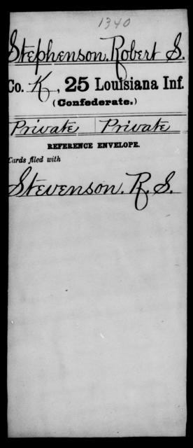 Stephenson, Robert S - Age [Blank], Year: [Blank] - Twenty-fifth Infantry, R - Te - Louisiana