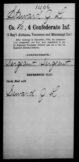 Steward, J L - Age [Blank], Year: [Blank] - Fourth Confederate Infantry, O-Y - Raised Directly by the Confederate Government