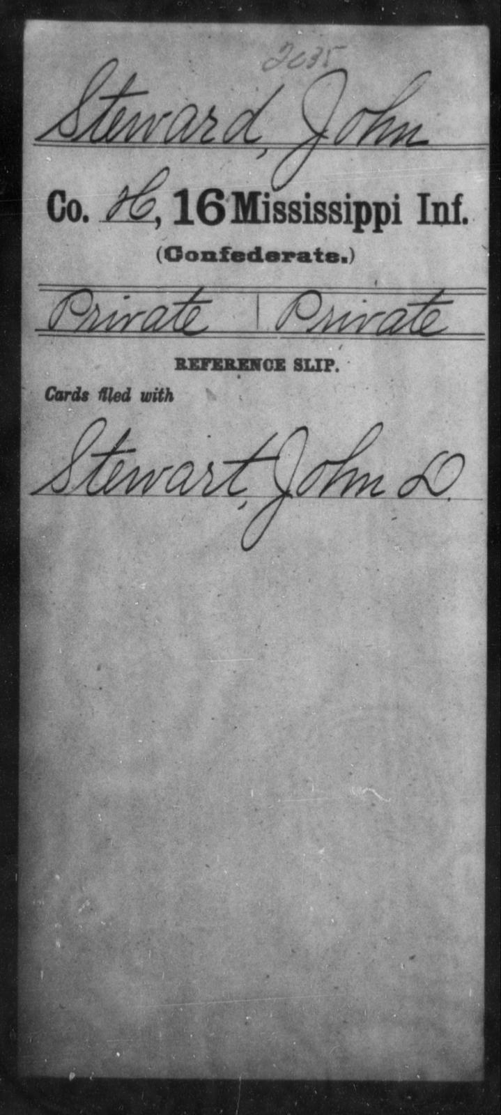 Steward, John - Age: [Blank], Year: [BLANK] - Mississippi Sixteenth Infantry, A, So-V