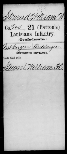 Steward, William W - Age [Blank], Year: [Blank] - Twenty-first (Patton's) Infantry, Se - Z AND Roll Military Unit - Louisiana