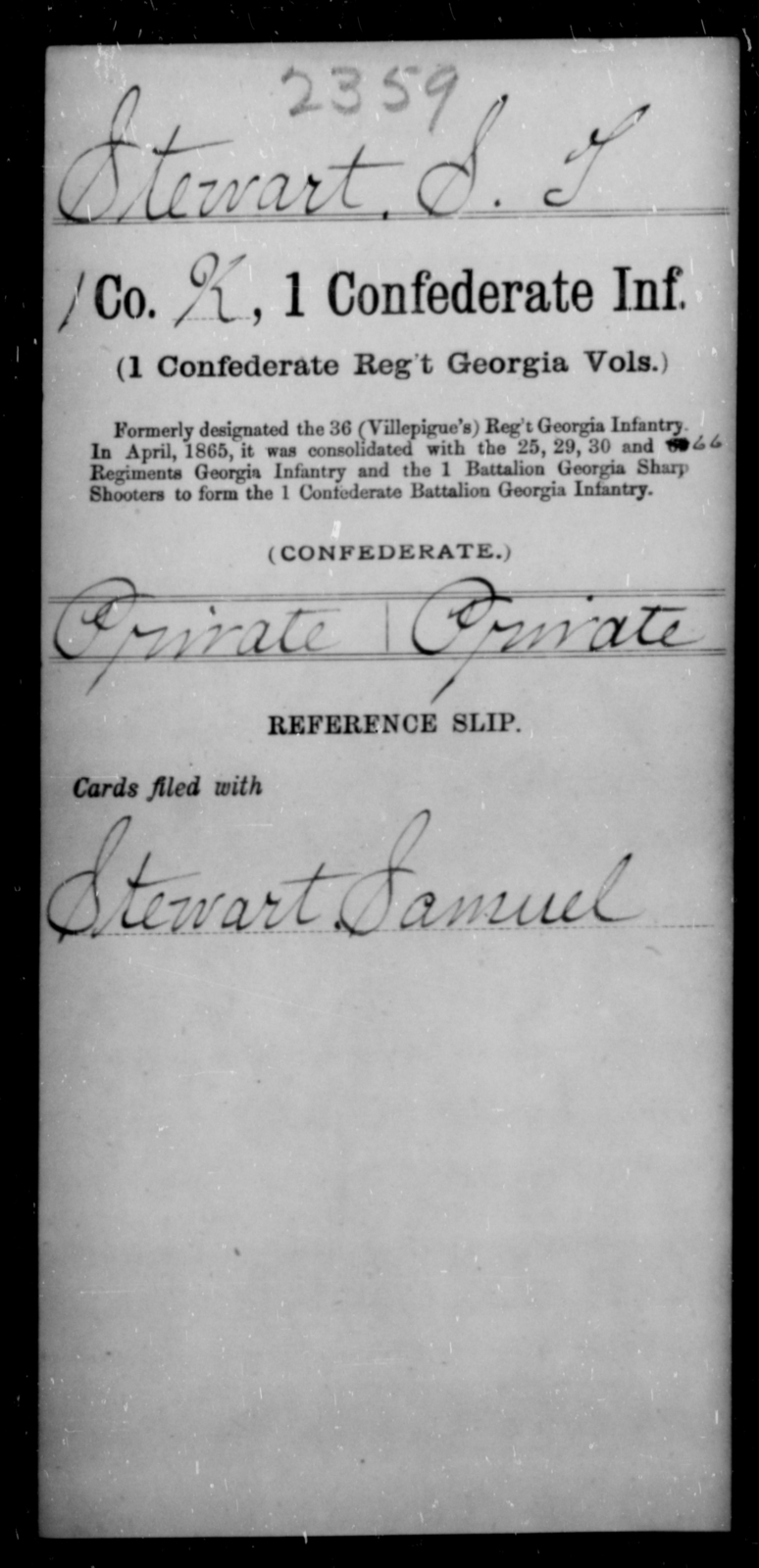 Stewart, S T - Age [Blank], Year: [Blank] - First Confederate Infantry, Ro-S - Raised Directly by the Confederate Government