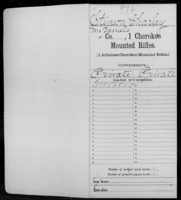 Stinson, Charley - Age [Blank], Year: 1861 - First Cherokee Mounted Rifles, M-Y - Raised Directly by the Confederate Government