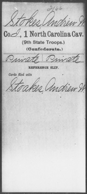 Stokes, Andrew W - First Cavalry (Ninth State Troops)