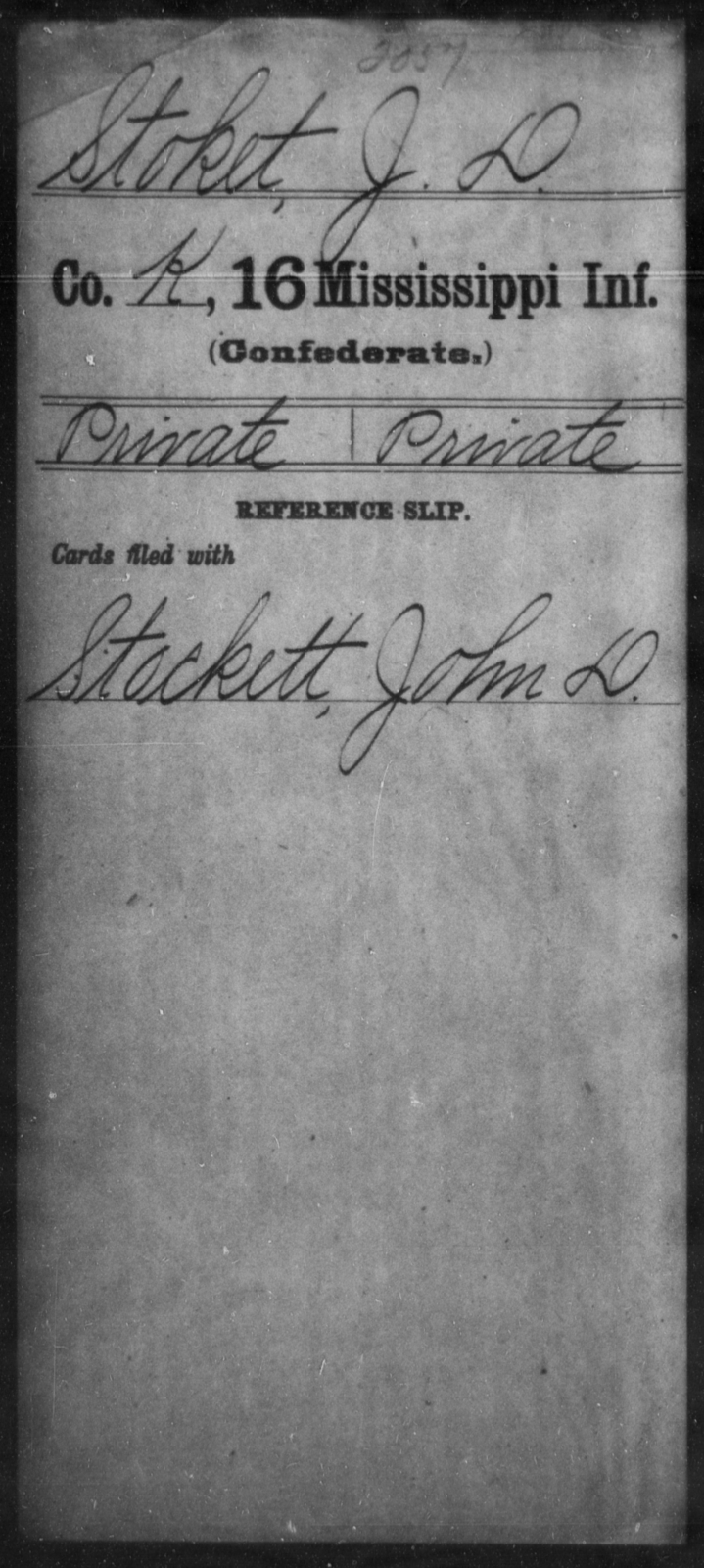 Stoket, J D - Age: [Blank], Year: [BLANK] - Mississippi Sixteenth Infantry, A, So-V