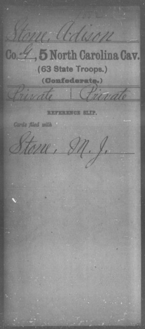 Stone, Adison - Fifth Cavalry (63d State Troops)