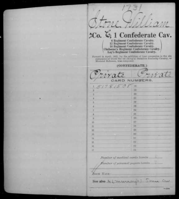 Stone, William - Age [Blank], Year: 1862 - First Confederate Cavalry, O-T - Raised Directly by the Confederate Government