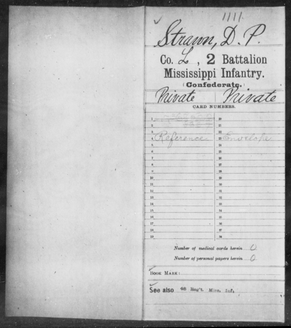 Strawn, D P - Age: [Blank], Year: [BLANK] - Mississippi Second Battalion, Infantry, R-Z AND Second (Davidson's) Infantry (Army of 10,000), A-O