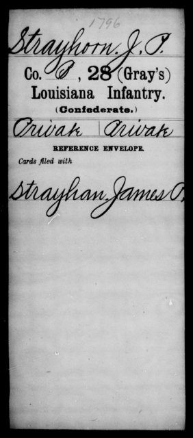 Strayhorn, J P - Age [Blank], Year: [Blank] - Twenty-eighth (Gray's) Infantry, Q-V - Louisiana