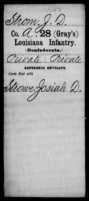 Strom, J D - Age [Blank], Year: [Blank] - Twenty-eighth (Gray's) Infantry, Q-V - Louisiana