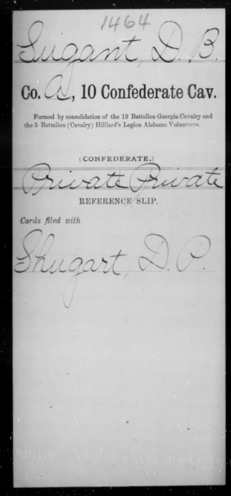 Sugant, D B - Age [Blank], Year: [Blank] - Tenth Confederate Cavalry, R-Z - Raised Directly by the Confederate Government
