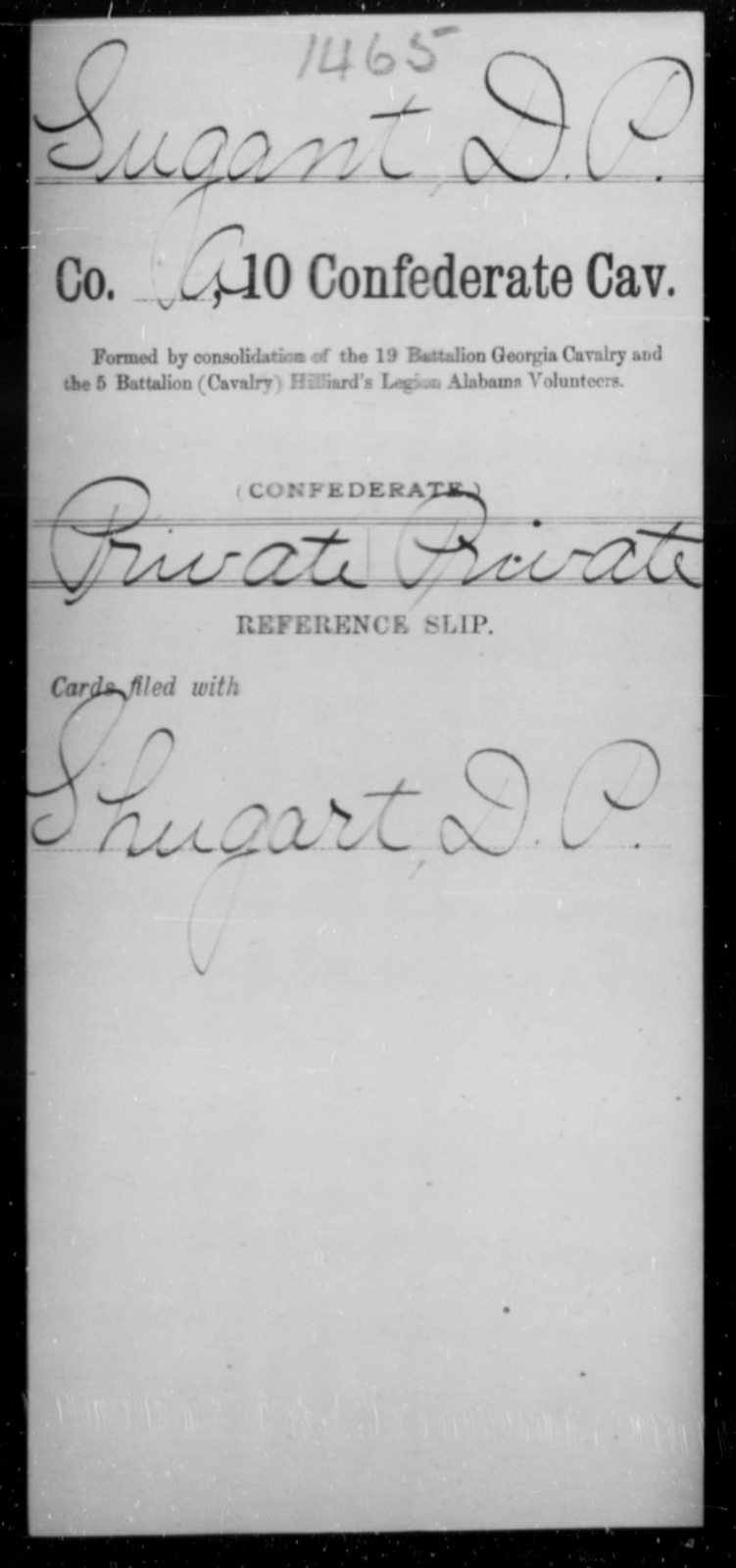 Sugant, D P - Age [Blank], Year: [Blank] - Tenth Confederate Cavalry, R-Z - Raised Directly by the Confederate Government