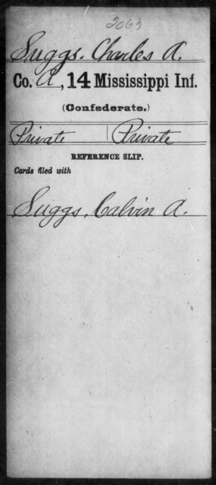Suggs, Charles A - Age: [Blank], Year: [BLANK] - Mississippi Fourteenth Infantry, St-Wh