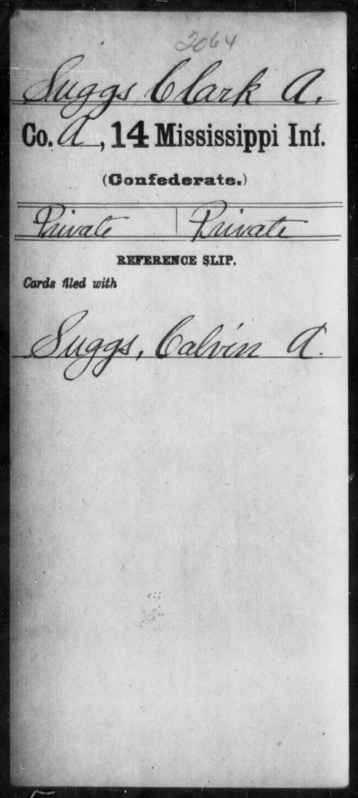 Suggs, Clark A - Age: [Blank], Year: [BLANK] - Mississippi Fourteenth Infantry, St-Wh