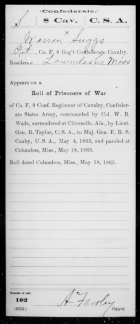 Suggs, Werren - Age [Blank], Year: 1863 - Eighth Confederate Cavalry, S-Z - Raised Directly by the Confederate Government