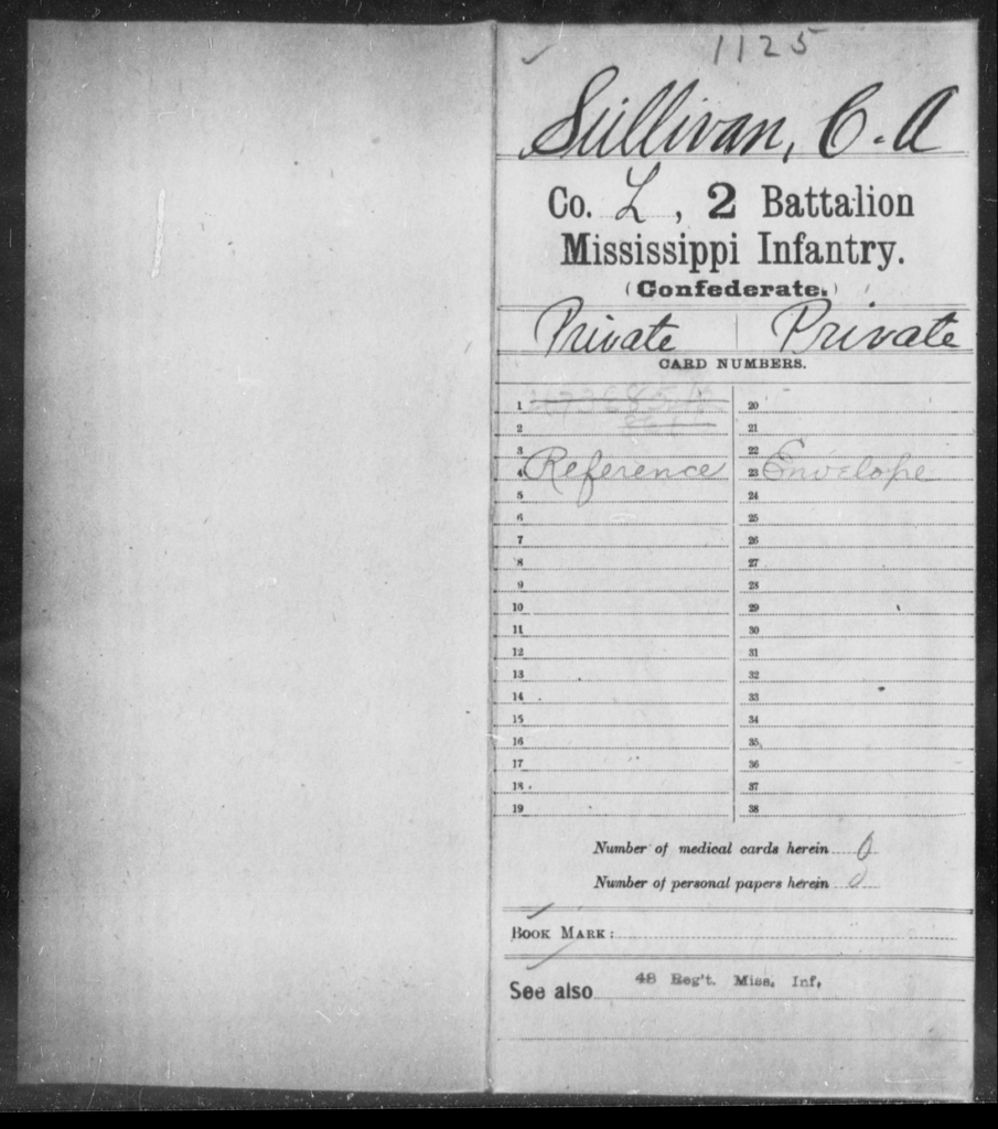 Sullivan, C A - Age: [Blank], Year: [BLANK] - Mississippi Second Battalion, Infantry, R-Z AND Second (Davidson's) Infantry (Army of 10,000), A-O