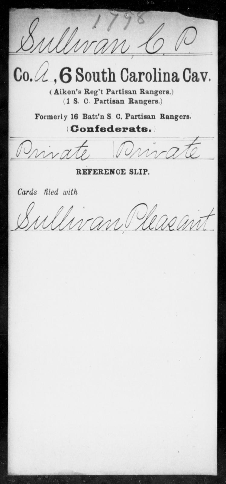 Sullivan, C P - Age: [Blank], Year: [BLANK] - South Carolina Sixth Cavalry Sh-Y