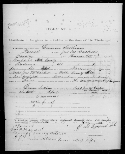 Sullivan, Dunson - Age 41, Year: 1862 - Third Confederate Cavalry, O-S - Raised Directly by the Confederate Government