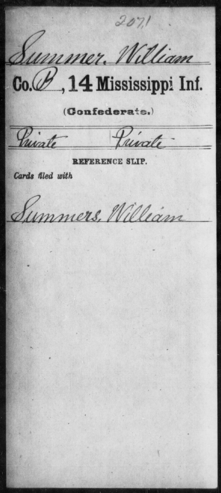 Summer, William - Age: [Blank], Year: [BLANK] - Mississippi Fourteenth Infantry, St-Wh