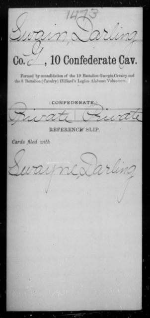 Swain, Darling - Age [Blank], Year: [Blank] - Tenth Confederate Cavalry, R-Z - Raised Directly by the Confederate Government