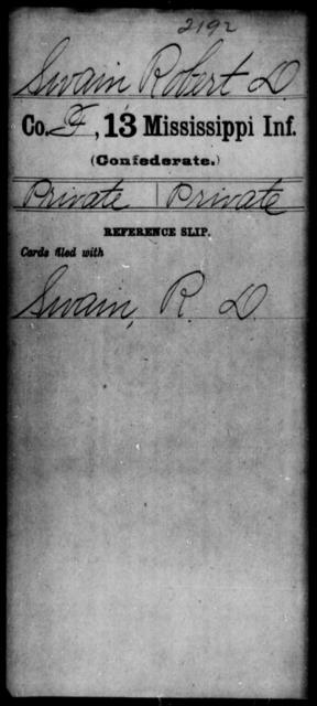 Swain, Robert D - Age: [Blank], Year: [BLANK] - Mississippi C, Sh-T