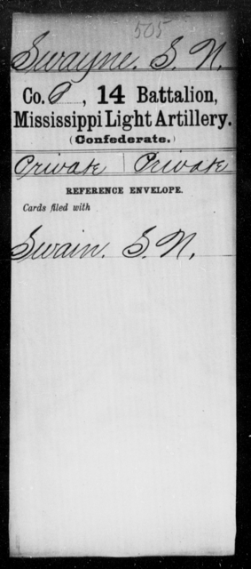 Swayne, S N - Age: [Blank], Year: [BLANK] - Mississippi Fourteenth Battalion, Light Artillery, R-Y AND Capt. Bradford's Co. (Confederate Guards Artillery), A-K