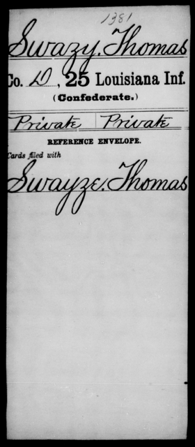 Swazy, Thomas - Age [Blank], Year: [Blank] - Twenty-fifth Infantry, R - Te - Louisiana