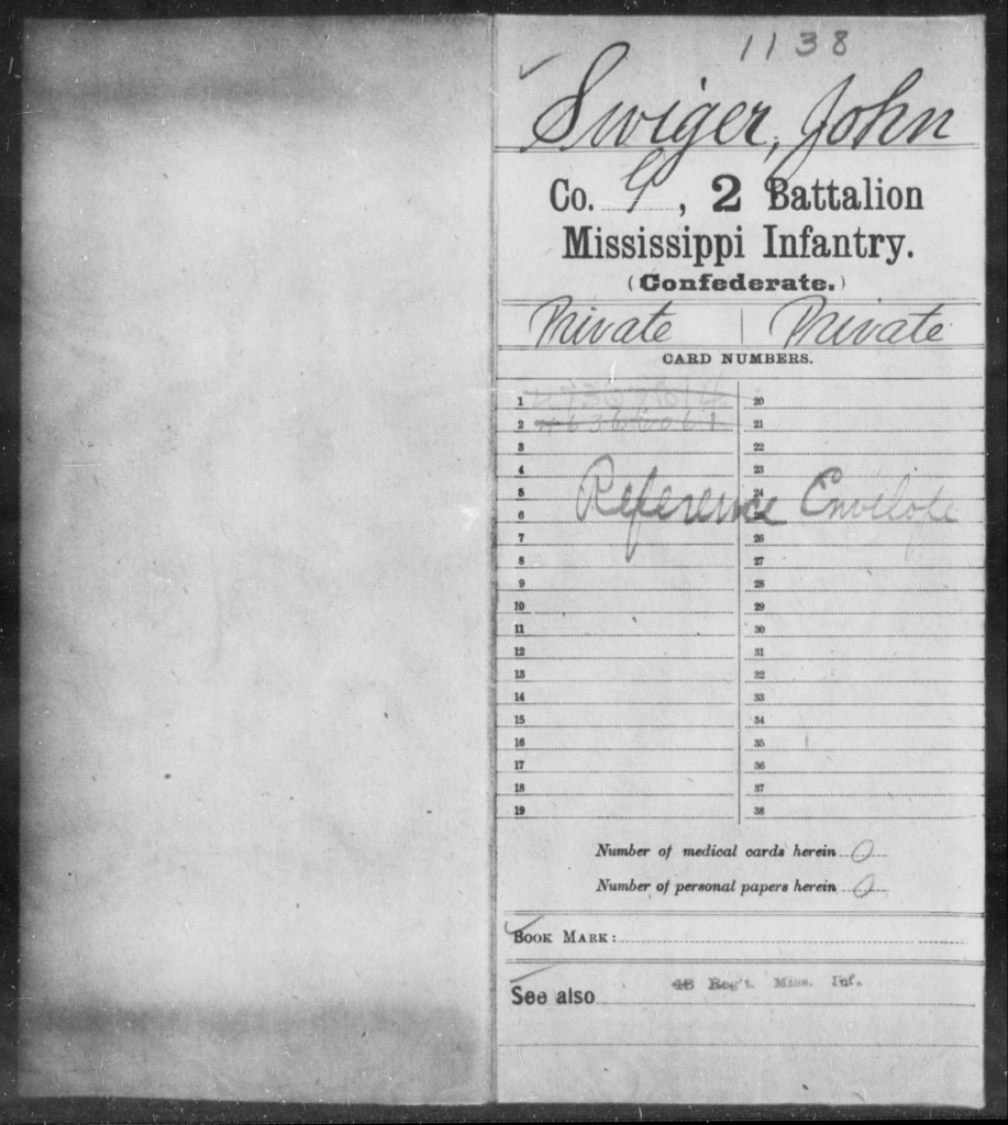 Swiger, John - Age: [Blank], Year: [BLANK] - Mississippi Second Battalion, Infantry, R-Z AND Second (Davidson's) Infantry (Army of 10,000), A-O