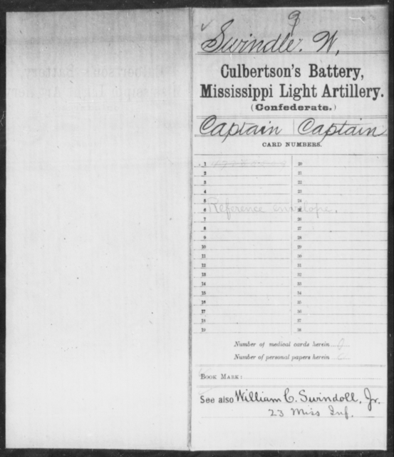 Swindle, W - Age: [Blank], Year: [BLANK] - Mississippi Capt. Bradford's Co. (Confederate Guards Artillery), L-Y AND Byrne's Battery, Artillery AND Capt. Cook's Co., Horse Artillery AND Culbertson's Battery, Light Artillery AND Capt. Darden's CO., Light Artillery (Jefferson Artillery), A-L