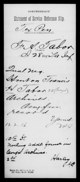 Tabor, F A - Age [Blank], Year: [Blank] - Twenty-eighth (Gray's) Infantry, Q-V - Louisiana