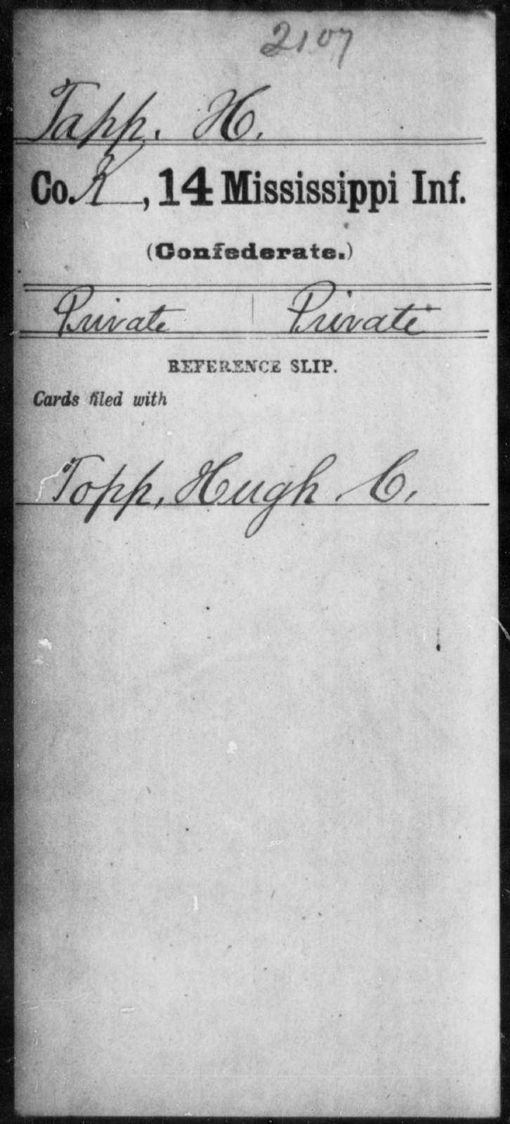 Tapp, H - Age: [Blank], Year: [BLANK] - Mississippi Fourteenth Infantry, St-Wh