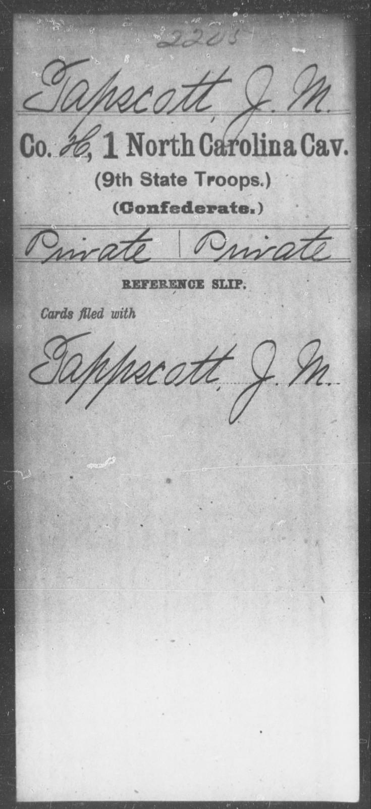 Tapscott, J M - First Cavalry (Ninth State Troops)