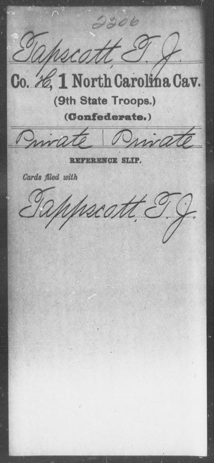 Tapscott, T J - First Cavalry (Ninth State Troops)
