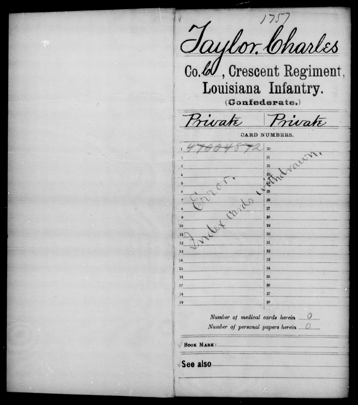 Taylor, Charles - Age [Blank], Year: [Blank] - Crescent Regiment, Infantry, T - Z - Louisiana