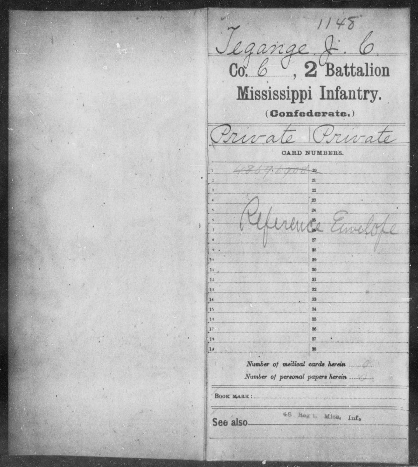Tegange, J C - Age: [Blank], Year: [BLANK] - Mississippi Second Battalion, Infantry, R-Z AND Second (Davidson's) Infantry (Army of 10,000), A-O